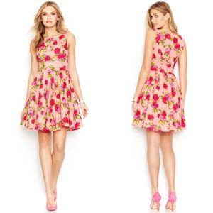 Betsy Johnson Pink Sleeveless Rose Print Dress